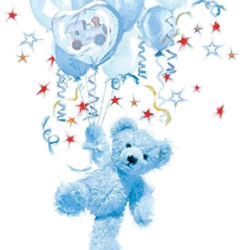 Ambiente Serviette Motif : Ours bleu - ours bleu pour Naissance / Baptême - 20 Serviettes par Paquet, 33x33 cm