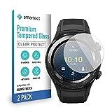 smartect Schutzglas kompatibel mit Huawei Watch Active/Classic/Elite [2 Stück] - Tempered Glass mit 9H Festigkeit - Blasenfreie Schutzfolie - Anti-Kratzer Bildschirmschutzfolie