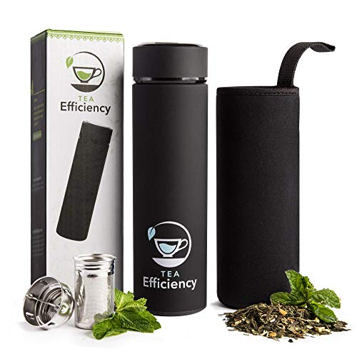 Tea Efficiency Tea Tumbler/Travel Tea Mug with Strainer - Loose Leaf Tea Infuser Bottle - Fruit Infused Flask - Double Wall Insulated Stainless Steel Cold brew coffee thermos (Black)