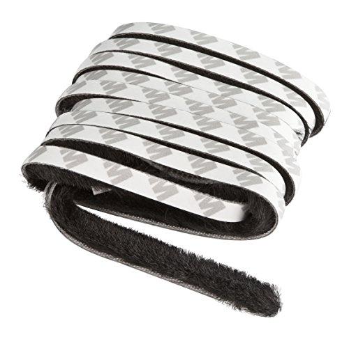 Windhager Insektenschutz Dichtungsbürste, Dichtungsband, Klebebürste, für Rollofenster und Rollotüren, selbstklebend, schwarz, 200 cm, 03787
