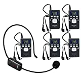 Retekess Wireless Microphone Headset System with 1 TR503 Transmitter and 5 PR13 Portable FM Radio Receiver with Earphone for Church Tour Guide Training Theater