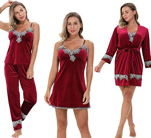 Damen Nachtwäsche Set, 4-teilige Pyjama-Set, Frauen Schlafanzug Sexy Bequem für Frühling Herbst Winter