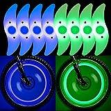 QKURT 8 x Fahrradspeichenlichter (blau, grün, 4 Stück), wasserdicht, für Fahrradspeichen-Dekoration, Sicherheit und Warnung.