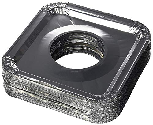 """DCS Deals Aluminum Foil Square Gas Stove Burner Covers – Pack of 50 – Disposable Bib Liners for Kitchen Gas Range Top - Keep Your Gas Range Clean Drip Pans - 8.5 x 8.5 x .5"""" Inch"""