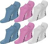 normani 6 Paar Damen Bambus Sneaker-Socken, schwarz, Spitze handgekettelt, Ohne Gummib&, superweich & angenehm Farbe Blau/Rosa/Weiß Größe 39/42