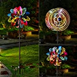 TECH ORANGE Solar Wind Spinner with LED Lighting Decorative Solar Powered Light with Kinetic Wind Spinner Dual Direction for Patio Lawn & Garden,90in,Colorful