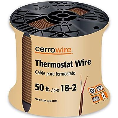 CERRO 210-1002BR Feet 18/2 Thermostat Brown Wire, 50-Foot, 18-Gauge, 2 Ground
