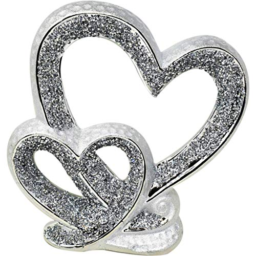 Amazing Gift SILVER DOUBLE HEART SPARKLE BLING ORNAMENT LOVELY DISPLAY DECOR HANDICRAFT ORNAMENT WEDDING ANNIVERSARY FOR PRESENT.