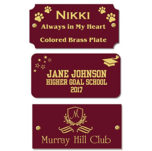 """2"""" H x 4"""" W, Maroon Red Color Brass Name Plate, Gold Text Engraved Brass Trophy Base Sign Nameplate Memorial Tag Personalized Custom Logo, Made in USA"""