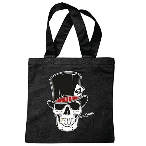 Tasche Umhängetasche Skull Poker Shirt - Skull - Gothic - Motorcycle Shirt - Motorrad - Rocker Motive - Chopper - Custom Bike - Route 66 - Motorrad Club - MC - Kutte - Einkaufstasche Schulbeutel T