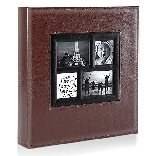 Ywlake Álbum de fotos de 10 x 15 cm con bolsillos, gran albúmino de piel para bodas familiares (1000 bolsillos, marrón)