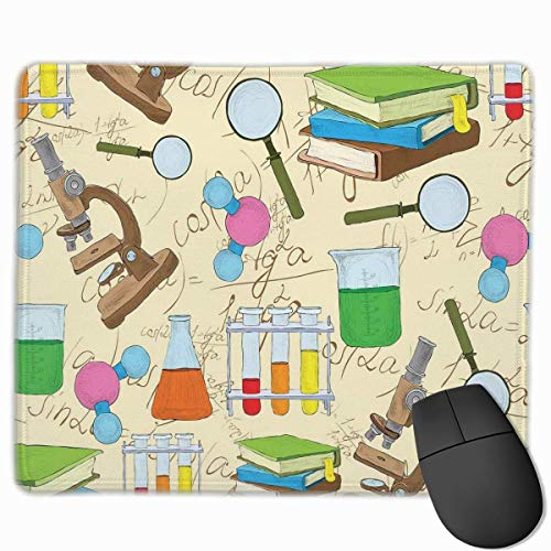 Wissenschaft Bildung Labor Skizze Bücher Gleichung Lupe Mikroskop Molekül Kolben Druck Mauspad Mousepad rutschfeste Gummiunterlage 10