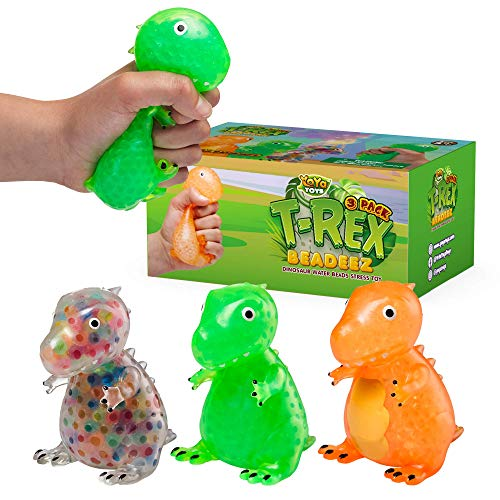 YoYa Toys Beadeez T Rex Squishy Slow Rise Stress Relief Balls (Set of 3) | Anxiety Relief Squeezing Dino Toys for Boys, Girls & Adults | Fidget Sensory Tyrannosaurus Rex Toy Filled with Water Beads