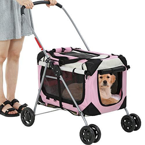 BestPet Dog Stroller Cat Stroller Pet Carriers Bag for Small Medium Dogs Cats Travel Camping 4...