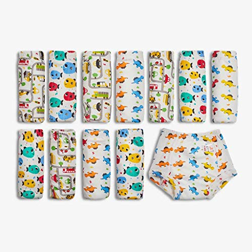 Superbottoms Padded Underwear-Pack of 12- Potty Training Pants for Babies/ Toddlers/ Kids. 100% Cotton,Padded,Semi Waterproof, Pull Up Unisex Underwear Trainers For Girls and Boys-Striking Whites (Size 3)