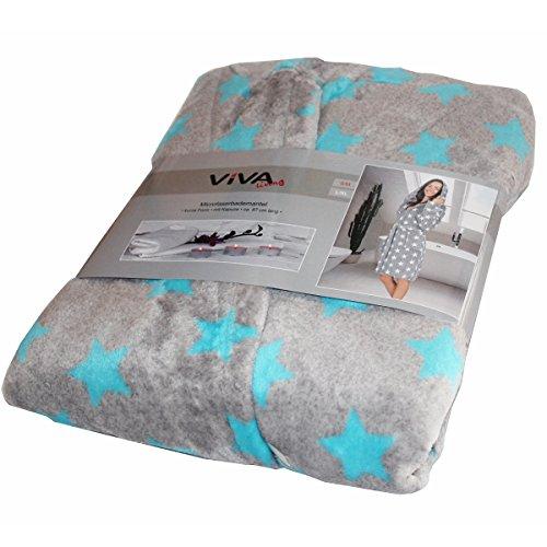 VIVA Vinnemeier Microfaser Bademantel mit Kapuze Sterne Herz Kurze Form S/M-L/XL Mantel Sauna, Farbe:Stern_Grau_Türkis_SM
