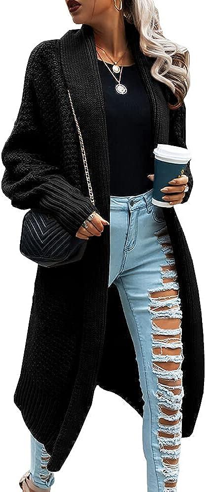 Women Open Front Knitted Batwing Long Cardigan Sweater Oversize Slouchy Kimono Wrap Cardigan Casual Outwear