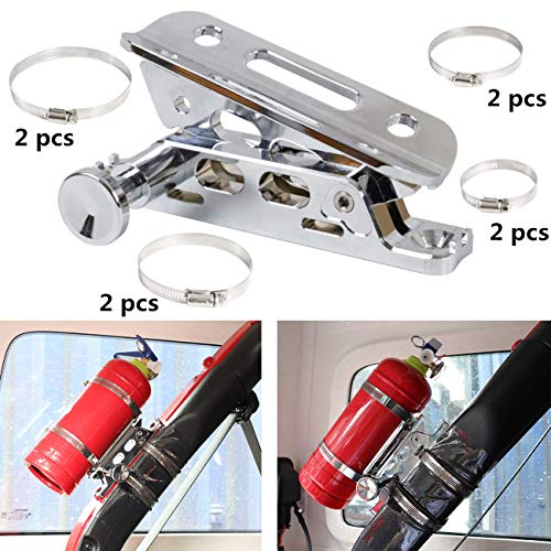 KOLEMO Quick Release Adjustable Roll Bar Fire Extinguisher Holder Mount with 8 Clamps for Jeep Wrangler UTV Polaris RZR Ranger Camper Van with Pillar Universal Vehicle Home and Office,Chrome