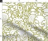 Spoonflower Stoff – wilde Tiere, grün, Elefant, Tiger,