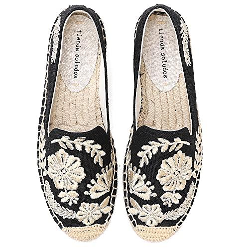 LYNLYN Gestickte Schuhe für Frauen Womens Casual Espadrilles Slip auf atmungsaktiven Flachs Hanf Leinwand für Mädchen Schuhe Mode Stickerei Komfortable Damen Mädchen Gestickte Fersen