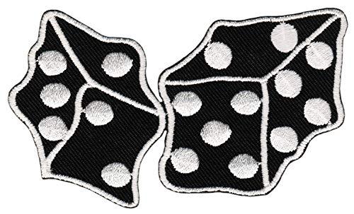 Patch Würfel Schwarz Weiß Rockabilly Dice Aufnäher Bügelbild Größe 9,0 x 5,3 cm