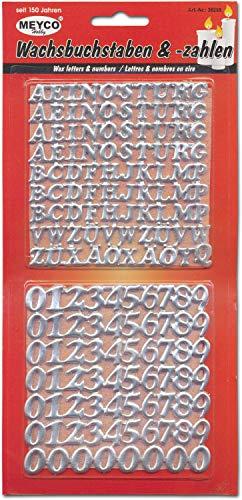 Meyercordt GmbH 158-tlg. Wachszahlen und Buchstaben Set Kerzen basteln selbstklebend Taufe Kirche Hochzeit in Gold oder Silber Silber