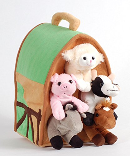 Plush Farm House with Animals- Five (5) Stuffed Farm Animals (Horse  Lamb  Cow  Pig  Grey Horse) in Play Farm House