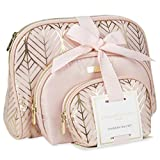Adrienne Vittadini Set of 3 Assorted Sizes Dome Cosmetic Cases - Pink with Gold Leaf Print Nylon and Pink PVC Trim