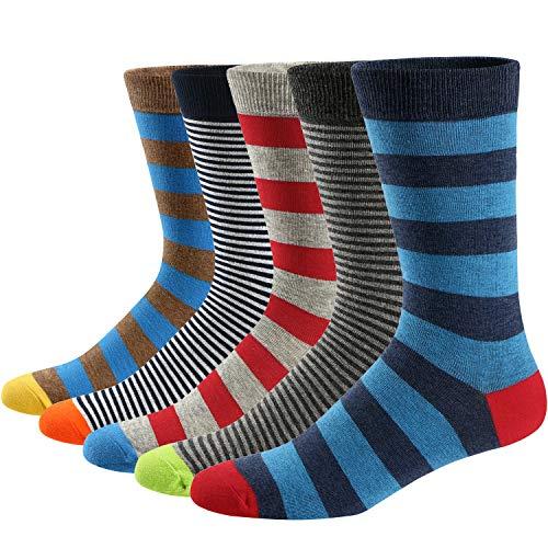 Ueither Calcetines Estampados Hombre Casuales Divertidos Calcetines altos de Colores con Algodón Fino (42-48, Color 8)