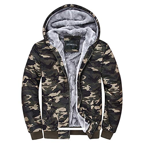 Dreamskull Men's Camouflage Coat Cotton Casual Hooded Hoodies Fleece Cashmere Winter Jacket (XXL)