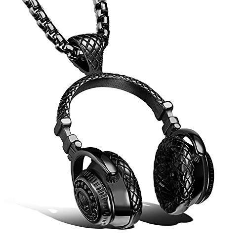Black Headphones Hiphop Necklace Rock Music Pendant with 24in chain Jewelry