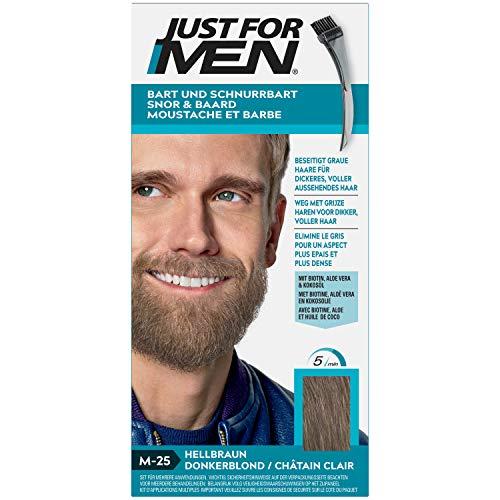 Just for Men Bigote y barba colorante marrón claro elimina el gris para un aspecto más grueso y completo – M25