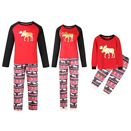 Akaddy Herbst Familie Kleidung Weihnachten Elch Langarm T-Shirt Hosen (Kinder 6-7 t)