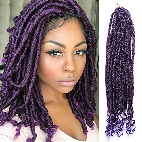 6 Packs 18 inch Ombre Goddess Crochet Box Braids with Curly Ends Synthetic Braiding Hair Extensions 1B/Purple Spring senegalese twist crochet braids 20 Roots/Pack