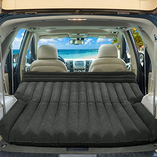 Goplus Inflatable Car Air Mattress for Back Seat, SUV Air Bed with Electric Air Pump Flocking Surface, Portable Car Mattress for Camping Travel, Thickened Home Sleeping Pad Fast Inflation (Black)
