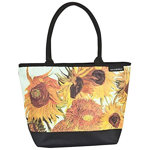 VON LILIENFELD® Borsa Shopping Vincent van Gogh: Girasoli Fiori Spiaggia Shopper Tracolla Spazioso Saccoccia Arte