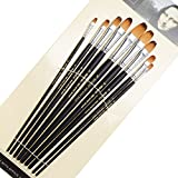 9 Pieces Artist Paint Brushes Nylon Filbert Paint Long Handle Value Set for Oils, Acrylic, Gouache & Watercolor Painting-Lightwish (Filbert Paint)