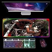 大型ゲーミングマウスパッドRGBLED発光耐久性ステッチエッジロングキーボードパッドforOffice Gaming Work Attack on Titan 900x400x4mm A