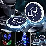License plate frameX 2pcs LED Car Cup Holder Lights for Infiniti, 7 Colors Changing USB Charging Mat Luminescent Cup Pad, LED Interior Atmosphere Lamp (Infiniti)