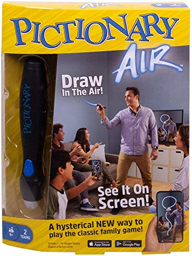 Mattel Games Pictionary Air Juego de dibujo familiar, enlaces a dispositivos inteligentes,...