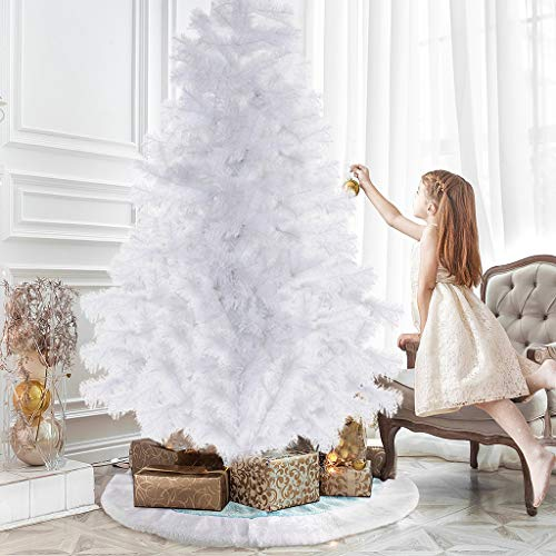 JCOC 7 Feet White Artificial Christmas Pine Tree PVC Tip Realistic Natural Branches with Solid Metal Stand & Decoration, 700 Tips
