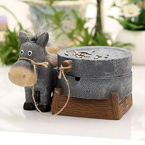 YYQLLXH Cenicero de molienda de tirador de burro de resina creativo soporte de bandeja de ceniza para fumar para decoración del hogar de interior y exterior-B