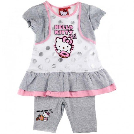 Sanrio - Ensemble Hello Kitty - Bébé fille - Gris (8 ans)