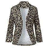 Katenyl Chaqueta tipo blazer sexy a la moda con estampado de leopardo para mujer, clásico, ajustado, cómodo, trabajo de oficina, abrigo de calle con botones XXL