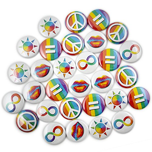 30 LGBT Pride Mini- Pins. 1' Bulk Rainbow Buttons. Gay/Lesbian Pride. (1' Pins, 30 Piece Set)