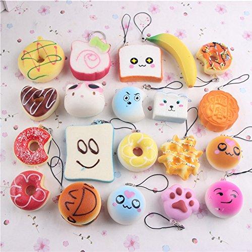 XuBa 10 stücke Kleine Weiche Squishy Lebensmittel Nette Donuts Kuchen Brot Handtasche Anhänger Buns Phone Straps Dekoration-Random Lieferung