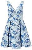Adrianna Papell Women's Gloria Jacquard Vneck Fit & Flare, Blue/Multi, 8 (Apparel)