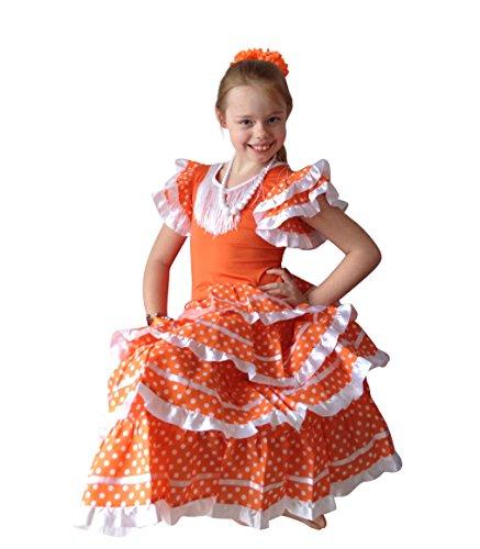 La Senorita Vestido Flamenco Español Traje de Flamenca Chica/niños Naranja Blanco (Talla 12, 140-146 - 95 cm, 9/10 años, Naranja)