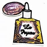 Perfume Nail Polish Remover Cosmetic Gold Bottle Iron on Patch Handmade Fashion Embroidery for Clothing Polo...