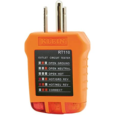 Klein Tools RT110 Receptacle Tester for North American AC Electrical Outlet Receptacles
